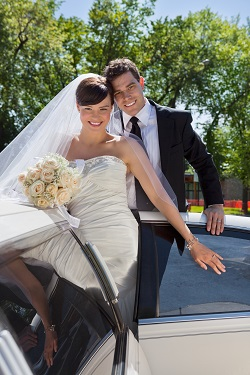 Wedding Couple Portrait with Limo