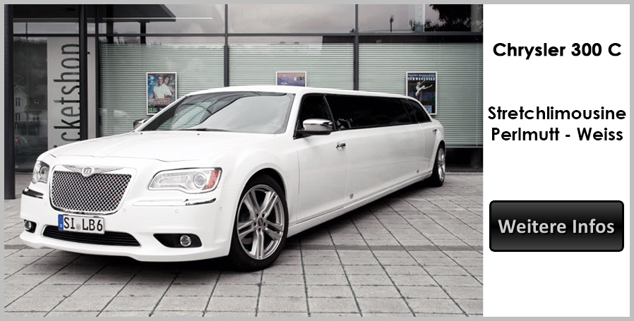 Weisse Chrysler Stretchlimousine
